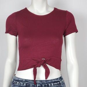 Ambiance apparel Women's Crop top Tie Up Burgundy